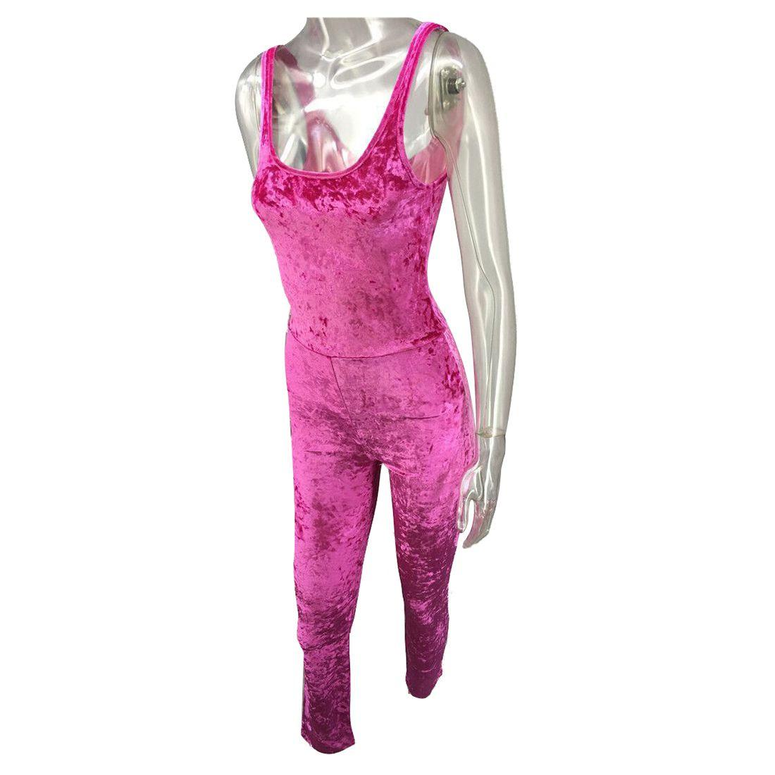 2017 KSFS Fashion Women's velvet sexy sleeveless Jumpsuits BLACK Pink Purple Khaki