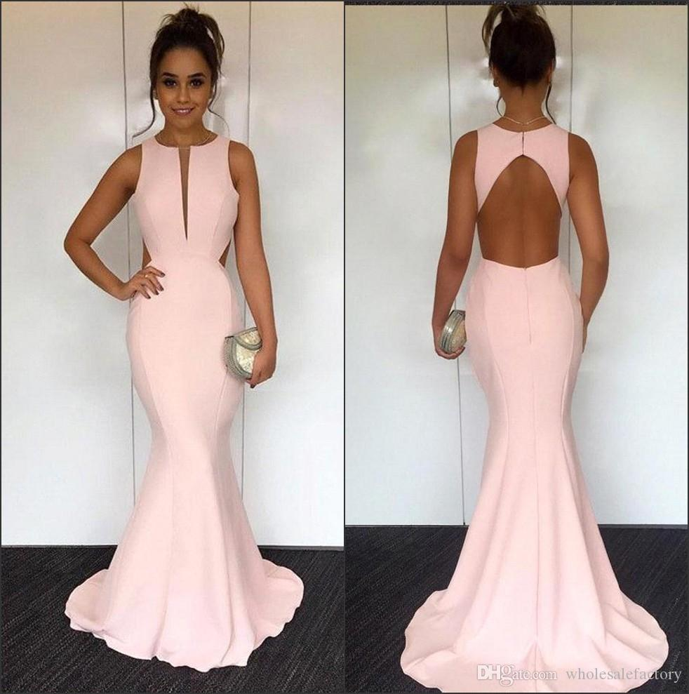 2018 Elegant Pearl Pink Satin Mermaid Long Prom Dresses Cut Out Hollow Back  Length Formal Party Evening Dresses Gorgeous Prom Dresses Grey Prom Dresses  From ... e600740e6055