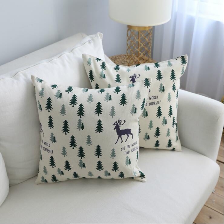 Nordic Forest Cushion Cover Decorative Deer Sofa Chaise Throw Pillow Case  Linen Cotton Almofada 45cm 60cm Home Office Cojines Outdoor Wicker Seat  Cushions ...
