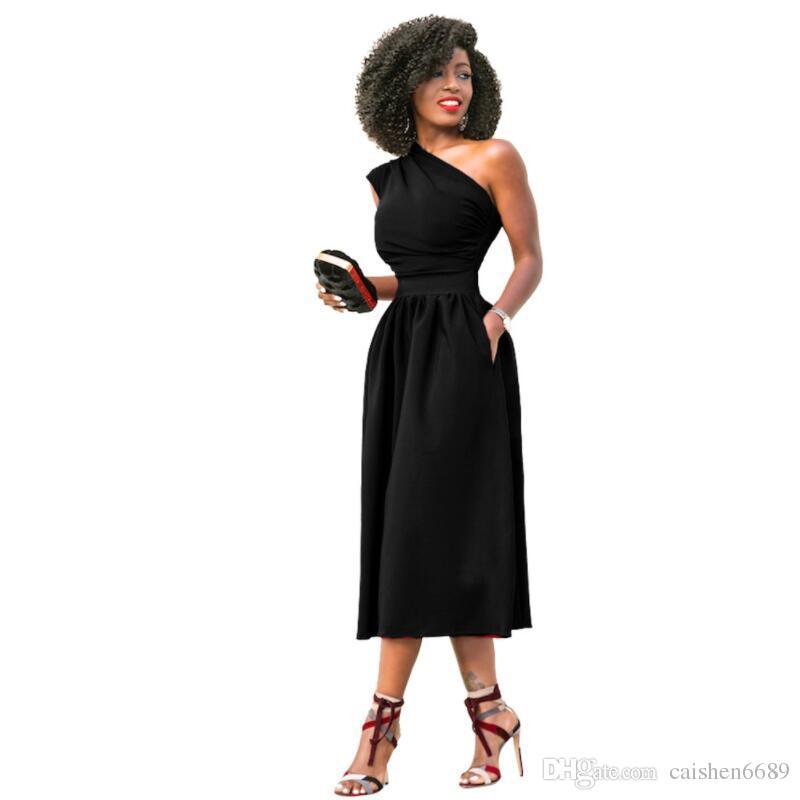 Плюс размер S-3XL одно плечо классическое платье 2018 лето Новый сплошной цвет наклонные плеча сексуальное платье мода Женская одежда клуб платье