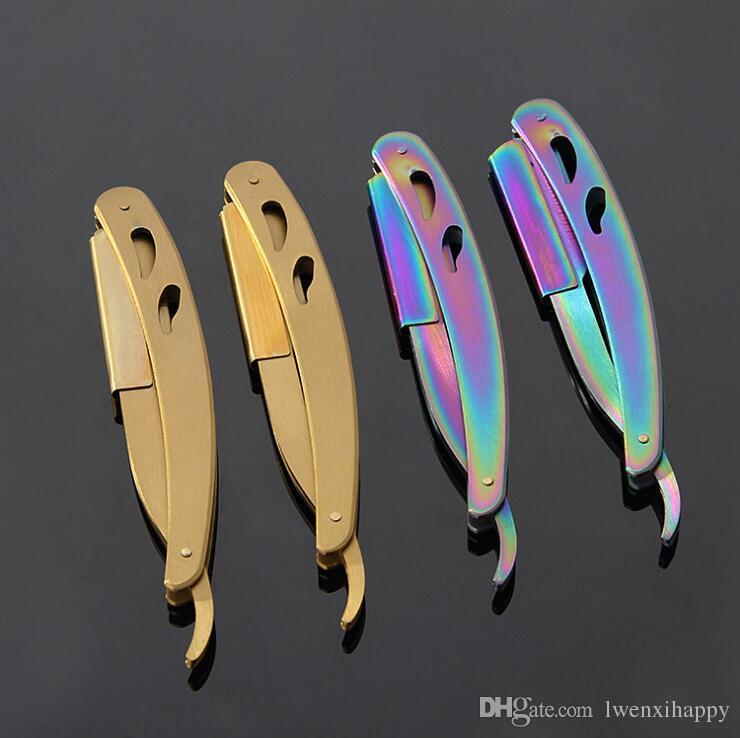 Tek 420 Paslanmaz Çelik Kolu Jilet Tıraş Bıçağı Kuaför Araçları Saç Jilet ve Bıçakları Antik Siyah Katlanır Tıraş Bıçağı