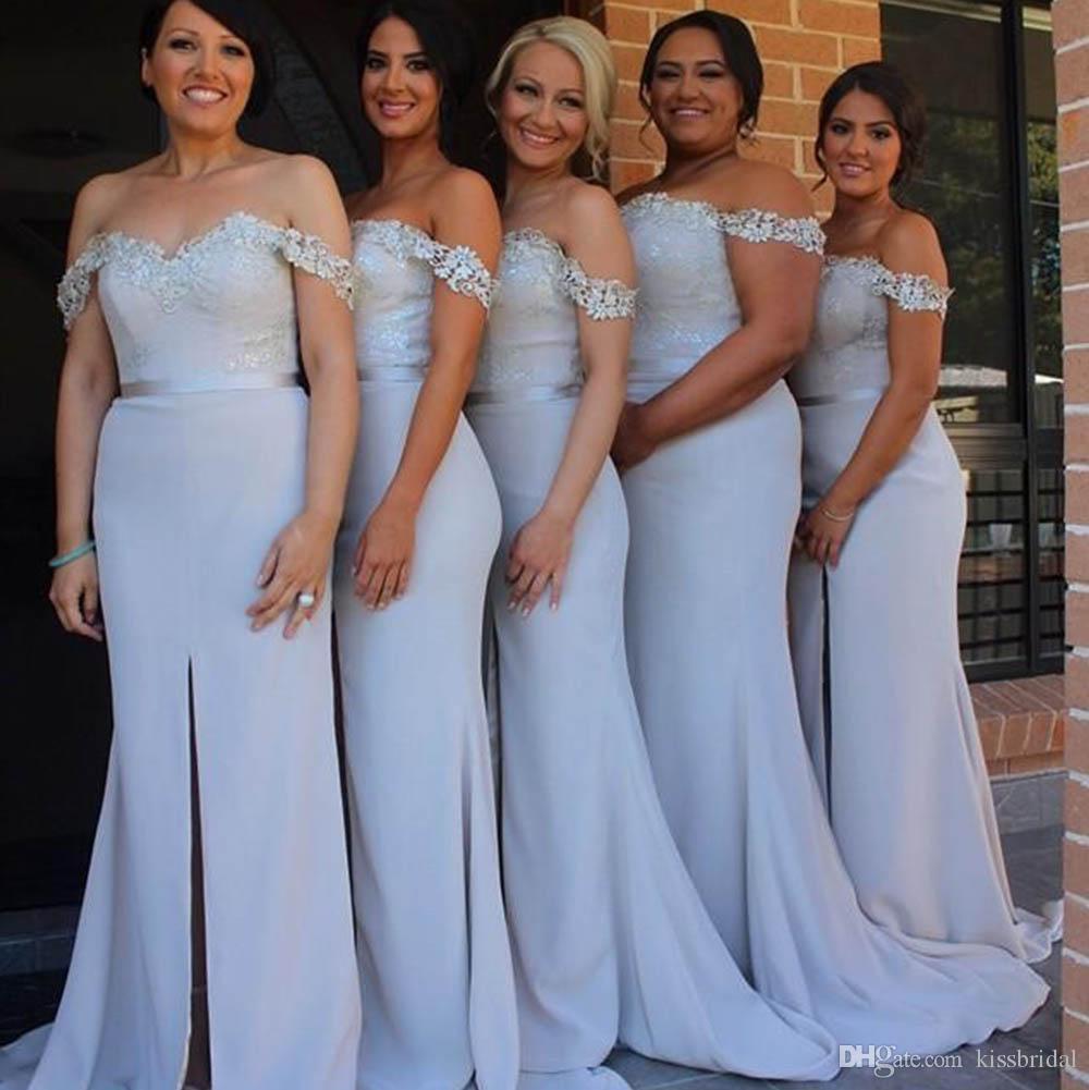 ef8cd68108 Pastel Lilac Bridesmaid Dresses Cheap 2019 Mermaid Off the Shoulder High  Split Front Ball Gown Evening Dress robes de demoiselle d honneur