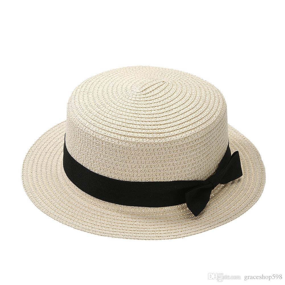 aabc87d5 2019 2018 Sun Caps Ribbon Round Flat Top Straw Beach Hat Panama Hat Summer  Hats For Women Straw Hat Snapback Gorras From Graceshop598, $8.87 |  DHgate.Com