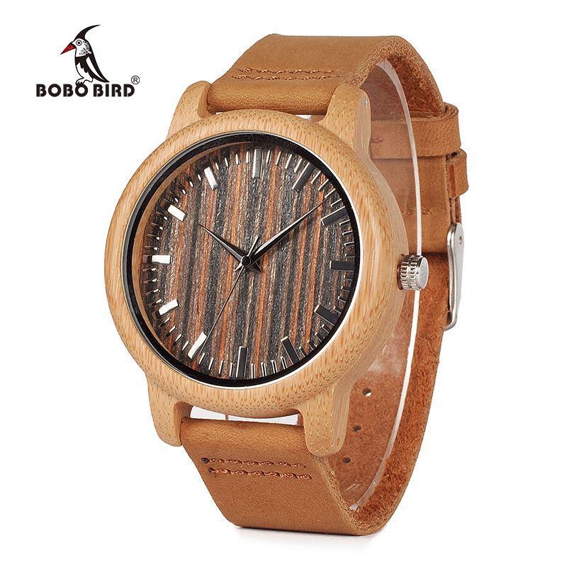a4fbf044a03d Compre BOBO BIRD V H08 Relojes De Bambú Hechos A Mano Para Hombre Reloj De  Pulsera De Cuarzo Con Correa De Cuero En Caja De Regalo Relojes Hombre V H08  A ...