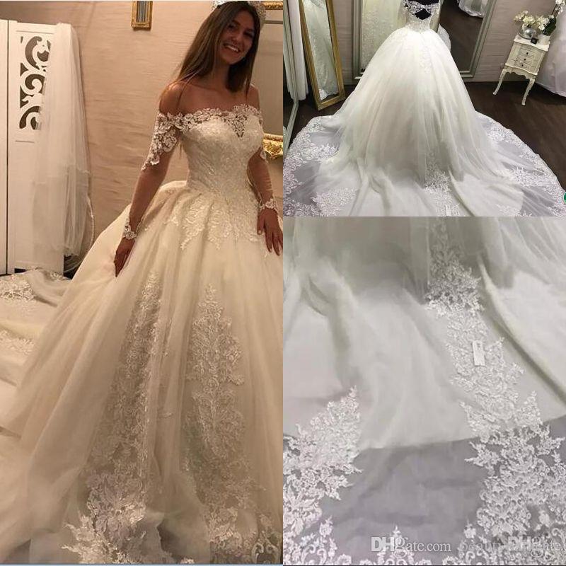 Modest 2018 Sheer Long Sleeves Wedding Dresses Ball Gowns Glamorous ...