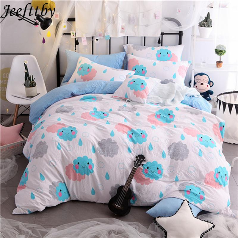Stylish Child Cartoon Cute Smiley Face Home Textile Washed Cotton Bedding  Sets Bed Linen Duvet Cover Quilt Cover Pillowcase Duvet Clearance Comforter  Sets ...