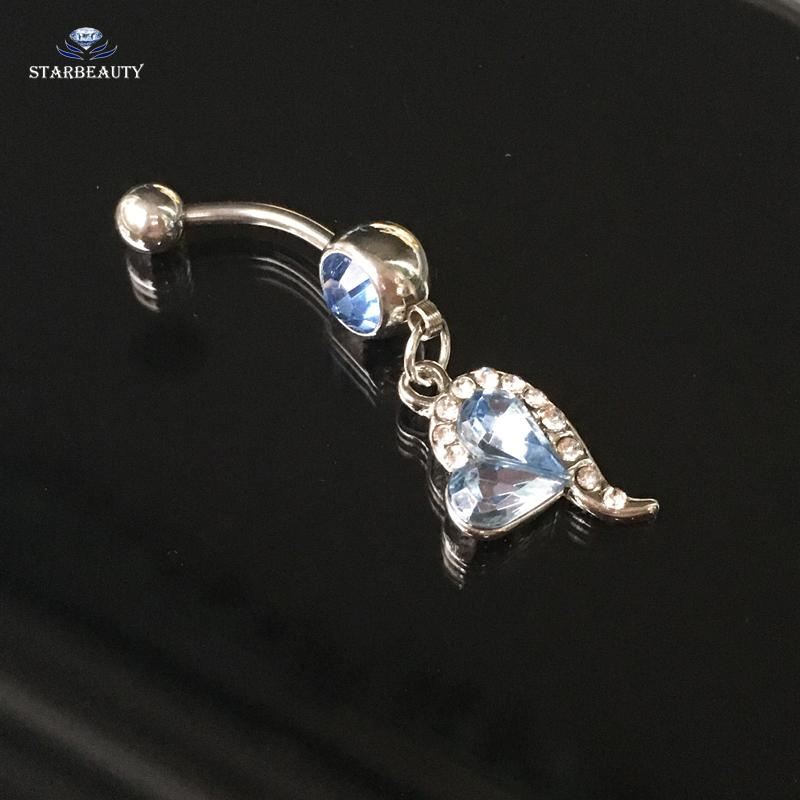 Starbeauty Royal Blue Heart Navel Piercing Ombligo 14G Cute Dangle Belly Button Piercing Nombril Belly Button Rings New Pircing