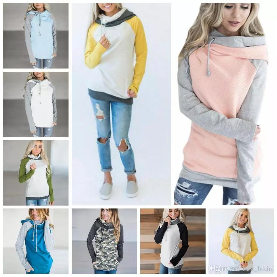 66c2fe418b69 Double Hooded Pocket Pullover Sweatshirt Tops Women Pullover Hoodie Side  Zipper Patchwork Drawstring Sweatshirt 12pcs OOA4711