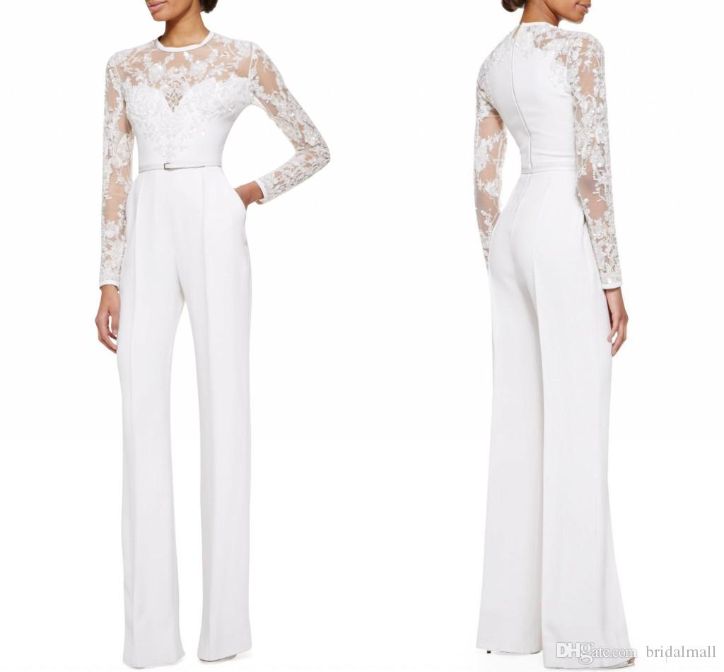 31ce6f47278 Modest 2019 Mother Of The Bride Pant Suits Jumpsuit With Long Sleeves  Mother Suits Plus Size Lace Appliques Formal Evening Gowns Custom Made Joan  Rivers ...