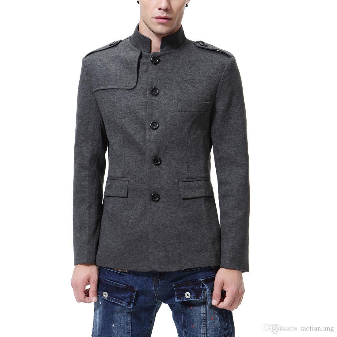25ee3210df8 Chinese Collar Black Suit Jacket Men Mandarin Collar Tunic Suit ...