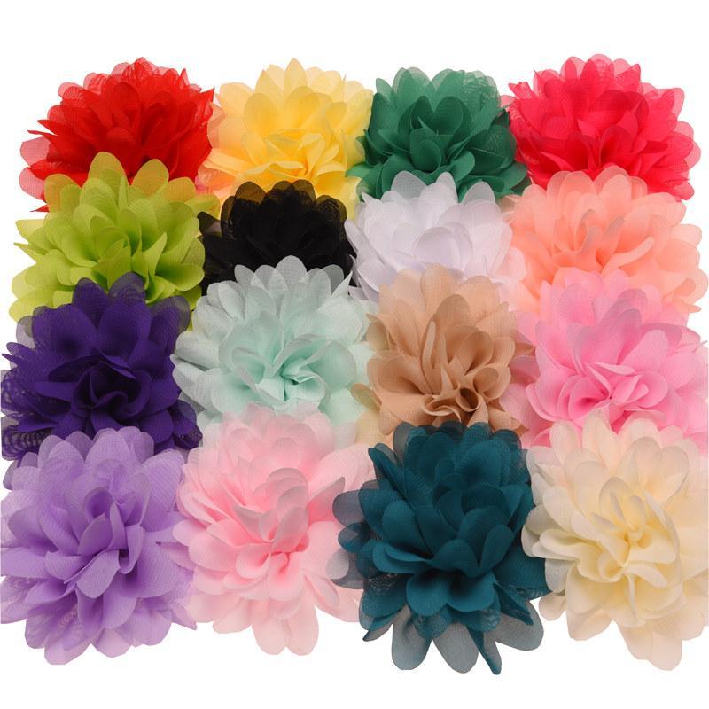 핫 세일 쉬폰 Ruffles 꽃 뚱뚱한 머리카락 꽃 10cm DIY 헤어 액세서리에 대 한 저렴 한 꽃 액세서리 No Clips
