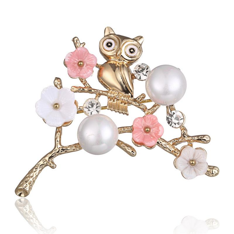 New Arrival Cute Natural Flower Bird Pink Brooch Pins Brooches for Women Retro Brooch Jewelry Accessories