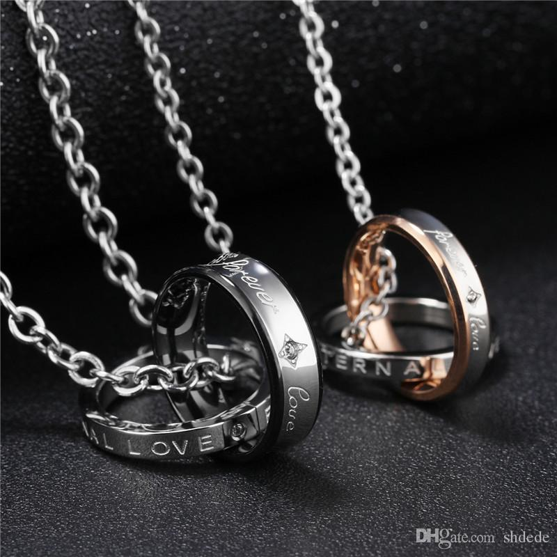 316l de acero inoxidable colgante redondo collares para hombres mujeres regalo de día de san valentín pareja joyería de moda ogx866