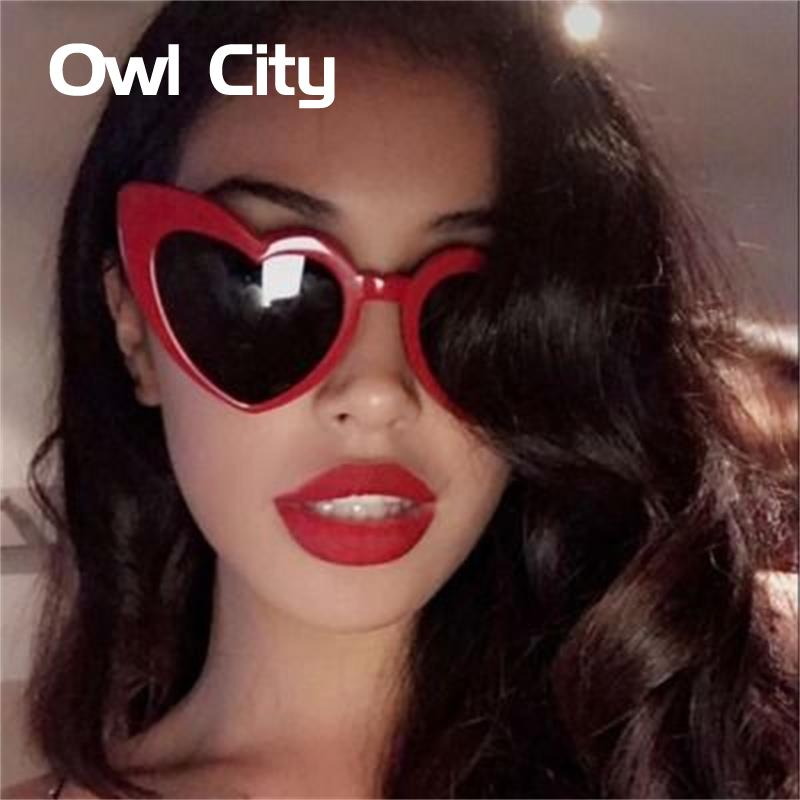 Owl City Heart Sunglasses Women Vintage Red Hearts Shaped Sunglass Ladies Retro Brand Designer Eyewear 90s for Female Shades