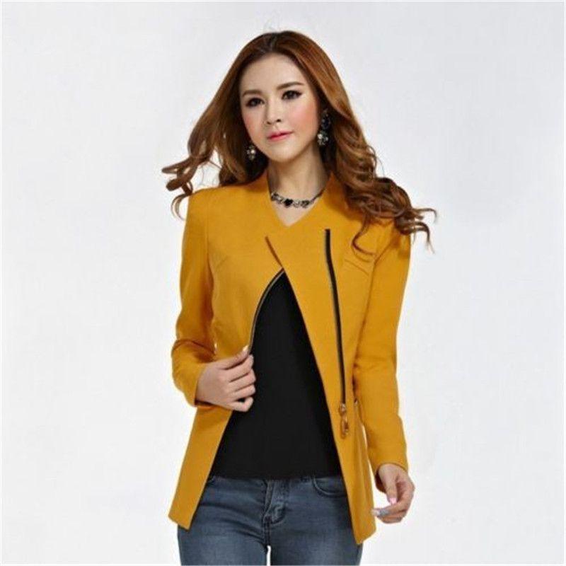 NEW Blazers 2017 Spring Women Suit Blazer Autumn Jacket Fashion Zipper Long Sleeve Solid Red Slim Coat Feminino Office Jacket