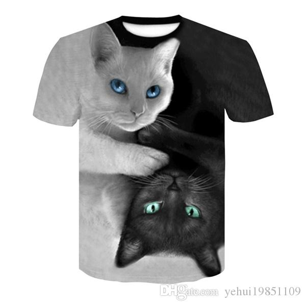 aae6180bc9c1 Boutique de moda gato blanco lindo gato negro impresión de los hombres  camiseta 3D digital harajuku lobo camiseta ocasional hombres