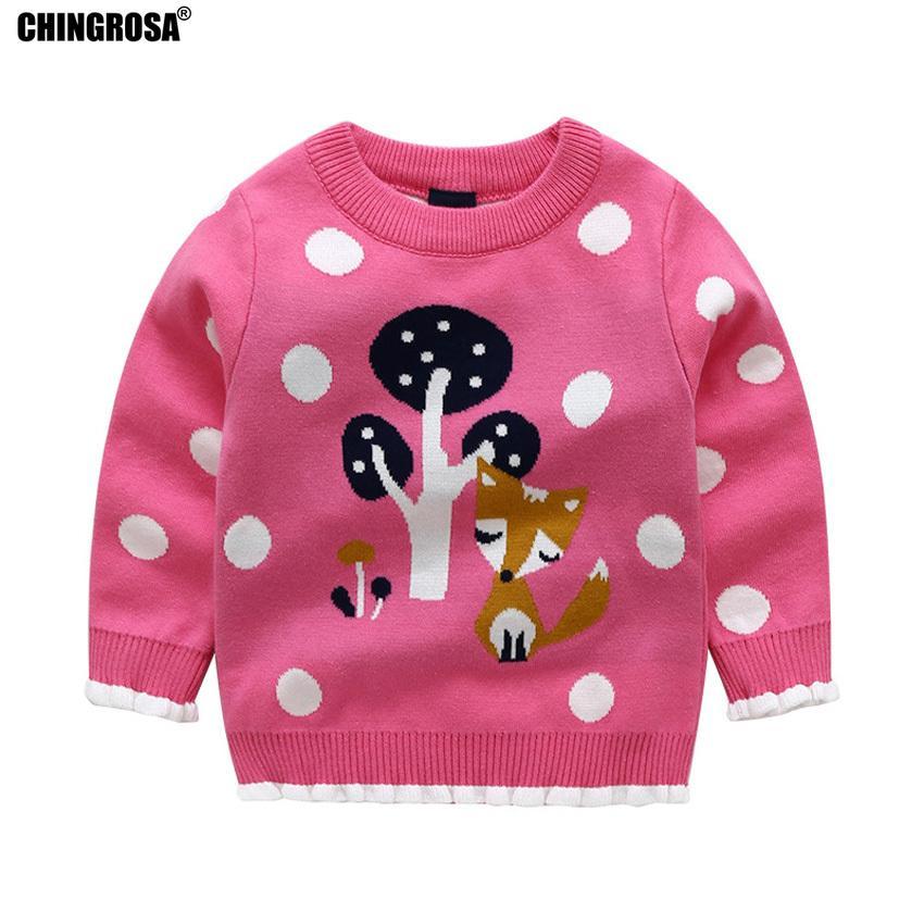 9a00c1ce45d3 Compre CHINGROSA Bebé De Dibujos Animados Niñas Suéteres Fox Dots Kids  Algodón De Punto Jerseys Otoño Invierno Niños Toddler Sweater Chandail A  $35.08 Del ...