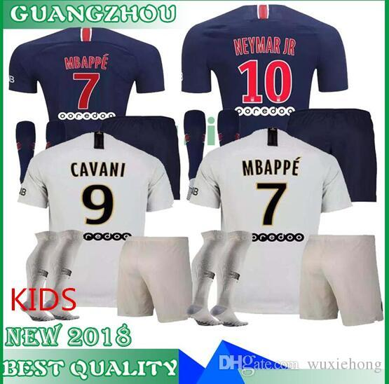 22e918f8120 2019 18 19 PSG NEY MAR JR MBAPPE Kids Kit Home Away Soccer Sets CAVANI  Verratti 2018 2019 Seasons Paris Saint Germain Boys Child Jersey From  Wuxiehong