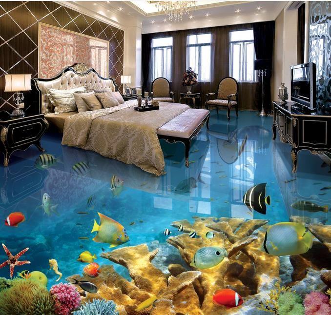 Пол PVC Тропический мир 3D рыб Подводный трехмерный пол ванной комнаты к картине Пола