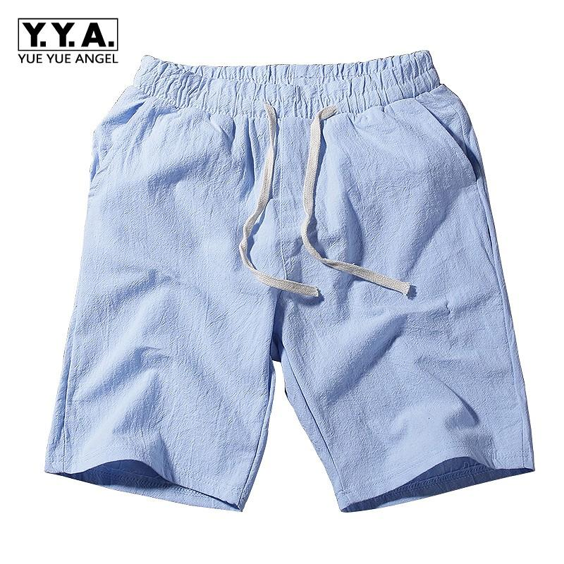 848727a83f7 2019 Mens Casual Cotton Linen Solid Color Summer Beach Shorts Elastic Waist  Knee Length Plus Size M 5XL Loose Fit Short Male Trousers From Sadlyric