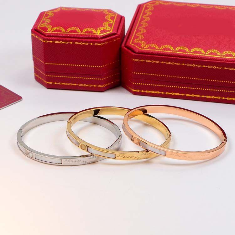 316L Titanium Steel Eternity Love Forever Bracelets White Fritillary Bangles 18KGP Rose Gold Bracelet en acier inoxydable Never Fade