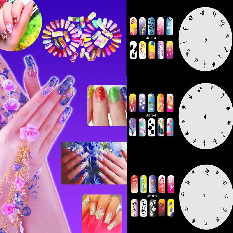 New Fashion Airbrush Nail Art Stencil Sheet Diy Manicure Tools Nail