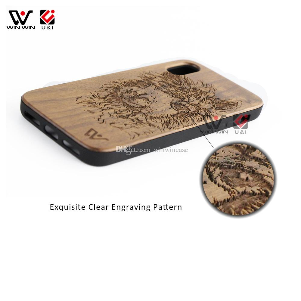 Original factory bamboo wood cell phone case for iPhone x luxury laser engrave full protection wooden phones case cover for i Phone 10
