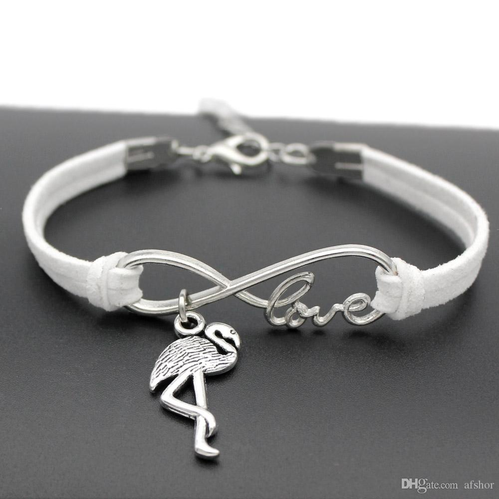 New Fashion Antique Silver Infinity Love Ostrich Flamingo Birds Charm Pendant Leather Friendship Bracelet Bangles Lovely Jewelry Unique Gift