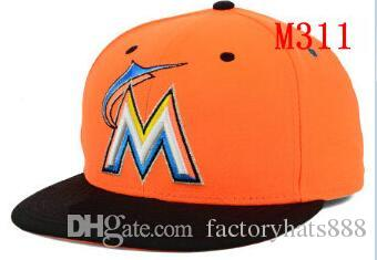 1663ea1cf5934 Fitted Hats Sunhat Marlins Baseball Embroidered Team Letter Flat ...