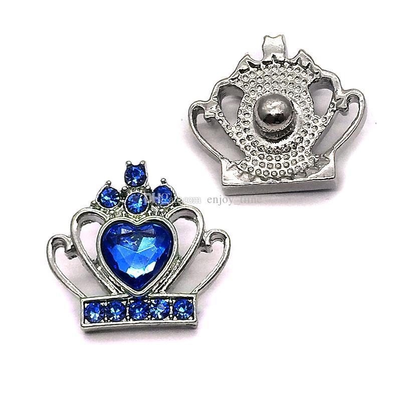 Noosa Chunk Snap Bouton Bijoux Strass 18mm Couronne En Métal Snap Boutons Fit Snap Bracelet Bracelets Femmes Bijoux