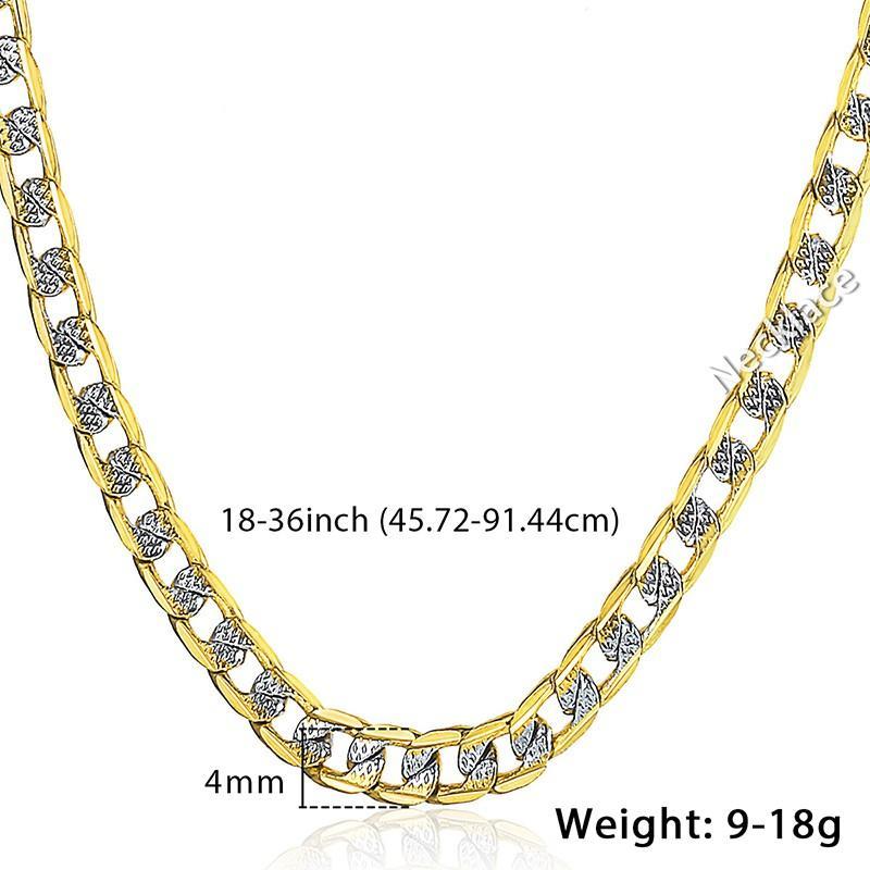 DAVIESLEE HOMBRES PARA HOMBRES Collar de mujer Amarillo Cadena llena de oro Curb Cuban Link Hip Hop Collar al por mayor Joyería 4mm LGN64