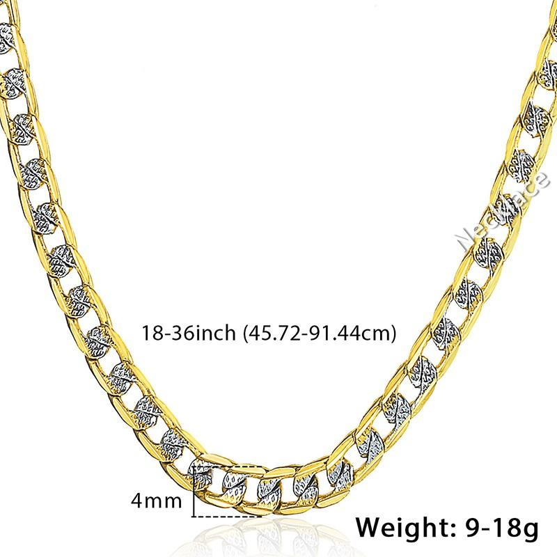 Davieslee Mens Womens Halskette Gelbes Gold gefüllt Kette Curb kubanischen Link Hip Hop Großhandel Halskette Schmuck 4mm LGN64