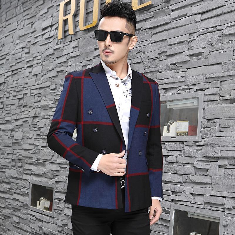 2018 Yeni Damat Düğün Takım Elbise Blazer Erkek Çizgili ceket Baskı Kruvaze Takım Elbise Ceketler Tasarımcı Erkek Takım Elbise Blazer S-3XL