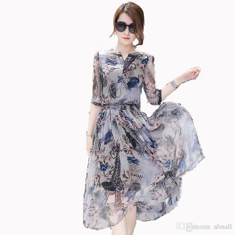 164a588df9d Female Dress Summer 2018 Summer Women S Summer Plus Size Half Sleeve  Chiffon One Piece Dress Full Dress Dresses For Cocktail Party White  Sundresses For ...