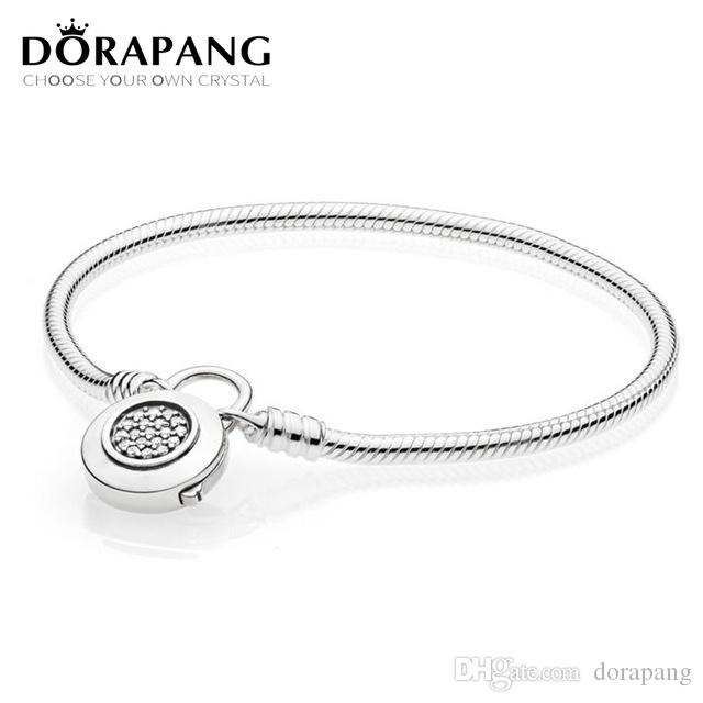 DORAPANG 100% 925 Sterling Silver Original Classic Logo Charm Lock Basic MOMENTS SMOOTH BRACELET WITH SIGNATURE PADLOCK DIY Bead