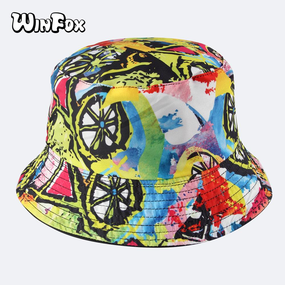 Winfox 2018 New Fashion Summer Reversible Colorful Graffiti Printing  Fisherman Bucket Hats Caps For Womens Girls Wedding Hats Baby Hats From  Value111 946a2a8419a