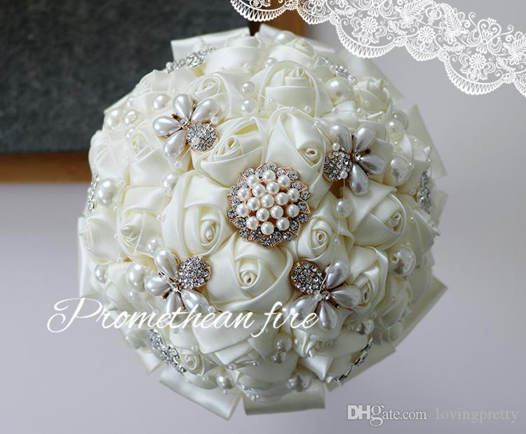 JaneVini Ivory 2018 Romantic Rose Bridal Bouquets For Wedding With Pearls Crystal Handmade Flowers Bouquet De Mariage Artificiel New Arrival