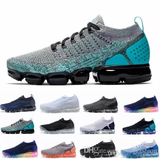 half off 2b22c 2424d Compre Con Box Maxes 2018 Hombres Running Trainers Air 2.0 Flagship Zapatos  Deportivos Mujeres Blanco Negro Pink Knitting Casual Diseñador De Moda  Sneakers ...