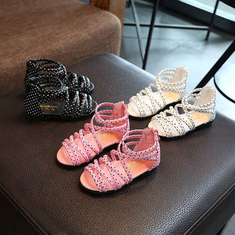 2c3cd2ba09f 2018 Summer Kids Shoes Sandals Fashion Princess Baby Girls Sandal Shoes  Black White Pink Dots Children Sandals For Girls Childrens Footwear Boots  For Kids ...