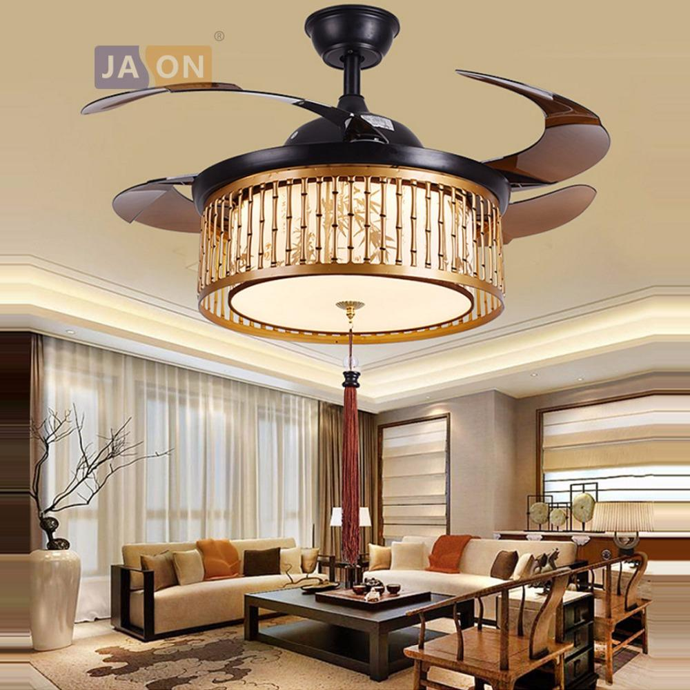 Led chinese bamboo iron fabric abs remote control ceiling fan led lamp ceiling lights led ceiling light ceiling lamp for foyer