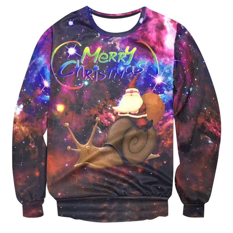 Ugly Christmas 3D Sweater Santa Claus Cute Print Pullover Sweater Jumper Outwear Women's Patterns of Reindeer Snowman Christmas