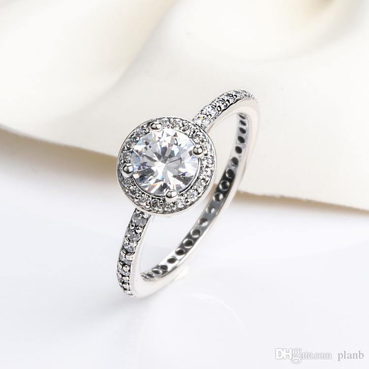 رومانسية لطيف حلقة مع مربع الأصلي ل باندورا سحر مجوهرات تشيكوسلوفاكيا الماس 925 فضة خواتم النساء الزفاف هدية البنصر