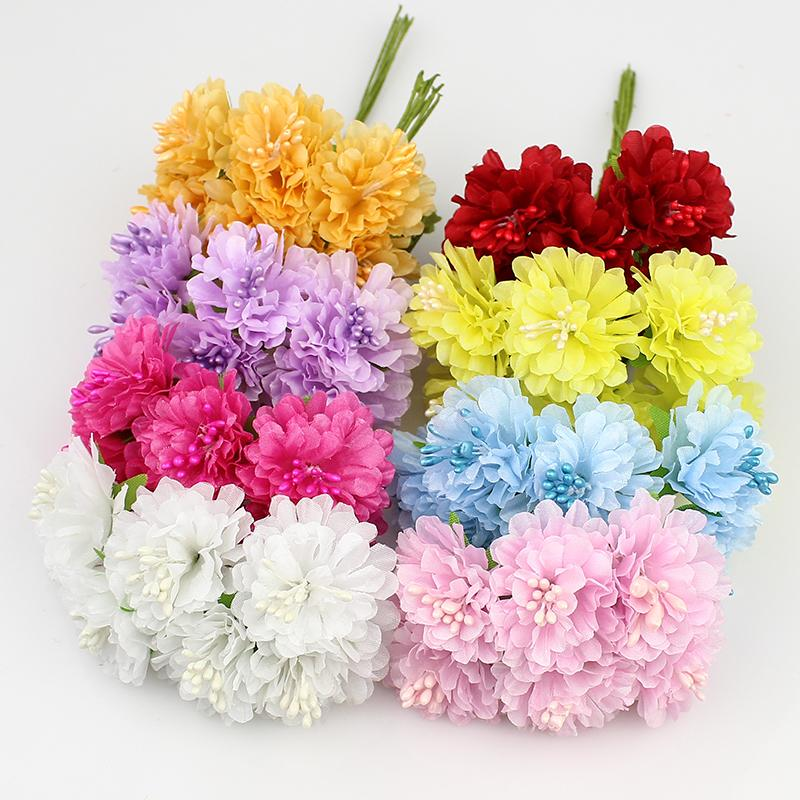 3cm 72pcs /Lot Silk Artificial Stamen Bud Bouquet Flower For Home Garden Wedding Car Corsage Decoration Crafts Plants