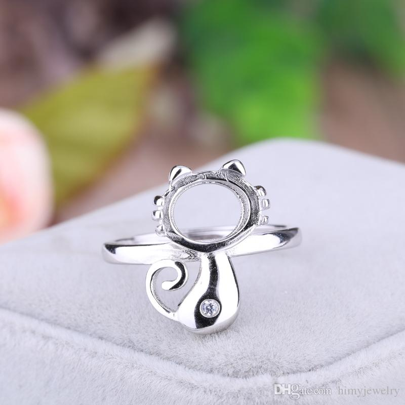 Sterling Silver 925 White Gold Color Engagement Ring for Women 8x9mm Oval Cabochon Semi Mount Wedding Ring DIY Stone Setting