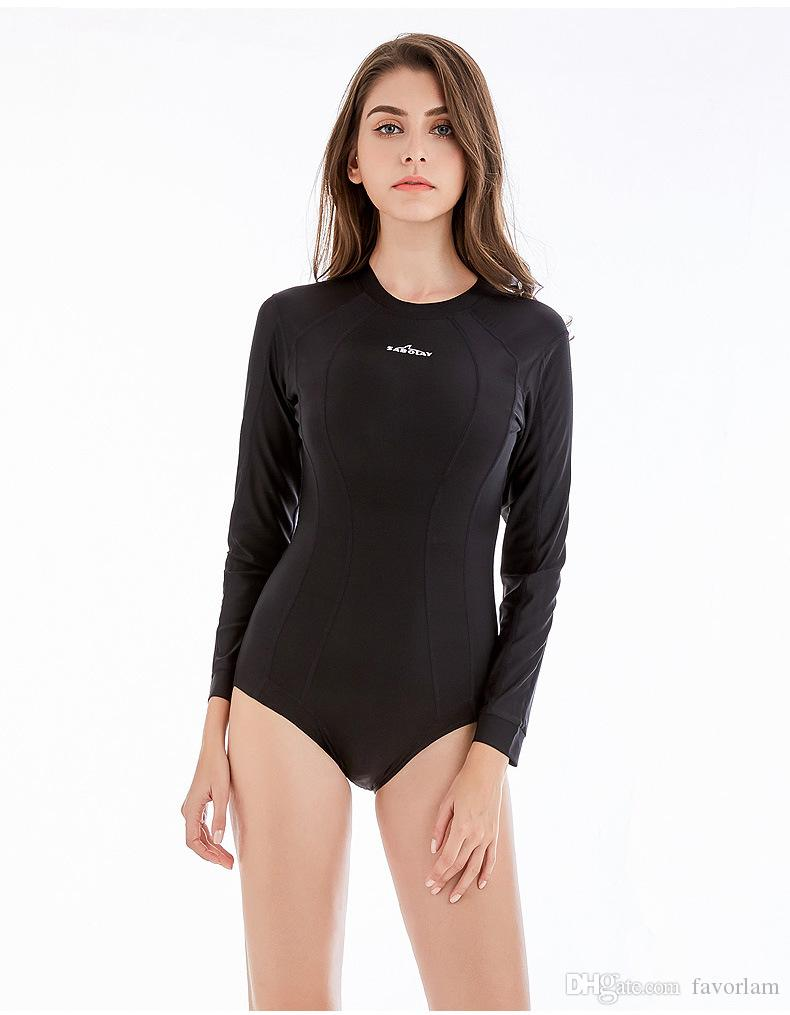 0639fbbf95 2019 Summer Tight Zipper Rushguard Women Diving Swimsuits Classic Black  Swimwear For Surf Long Sleeve One Piece Swimsuit Rush Guard Monokini From  Favorlam