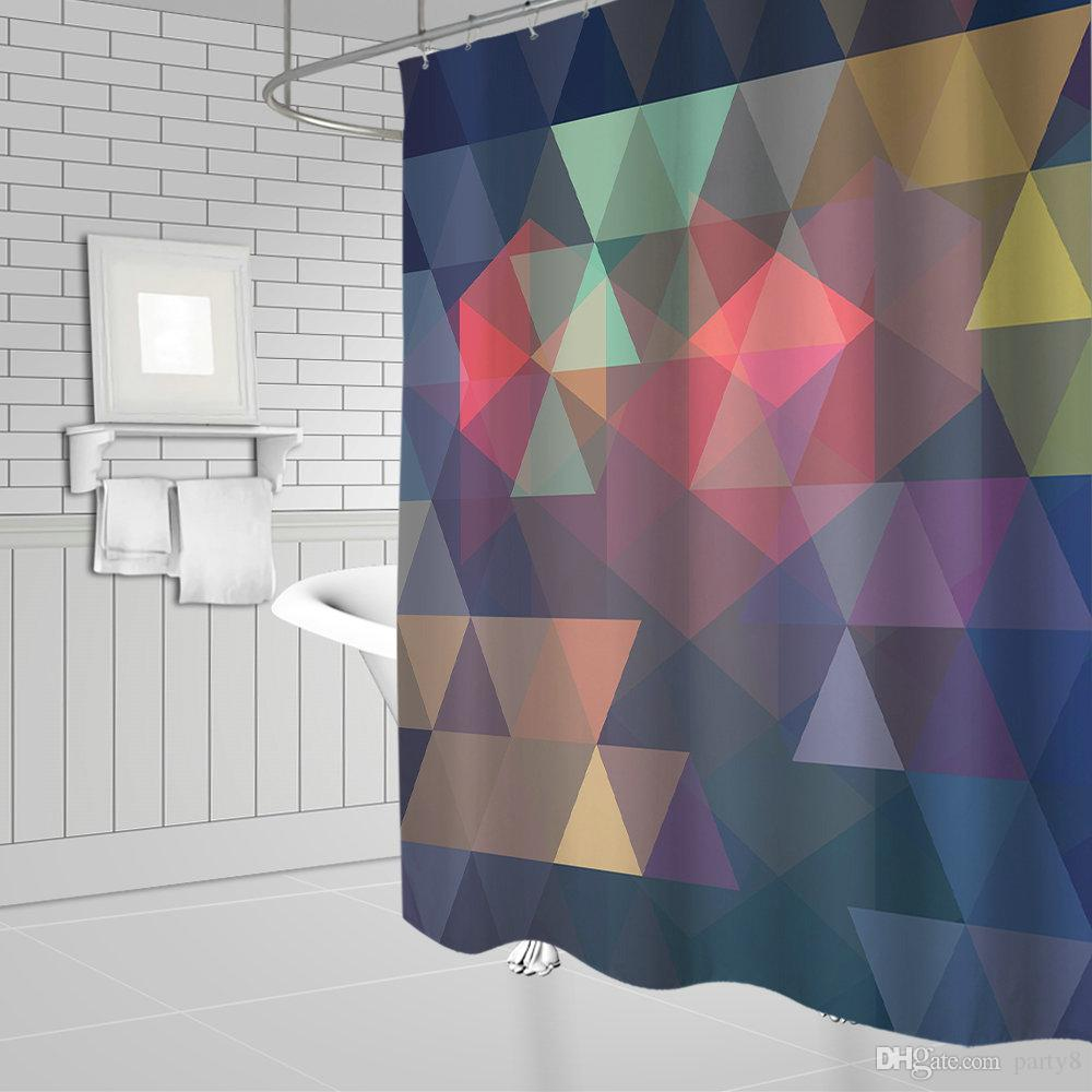 2019 Wholesale Color Geometric Pattern Shower Curtains 69 X 70 Inch