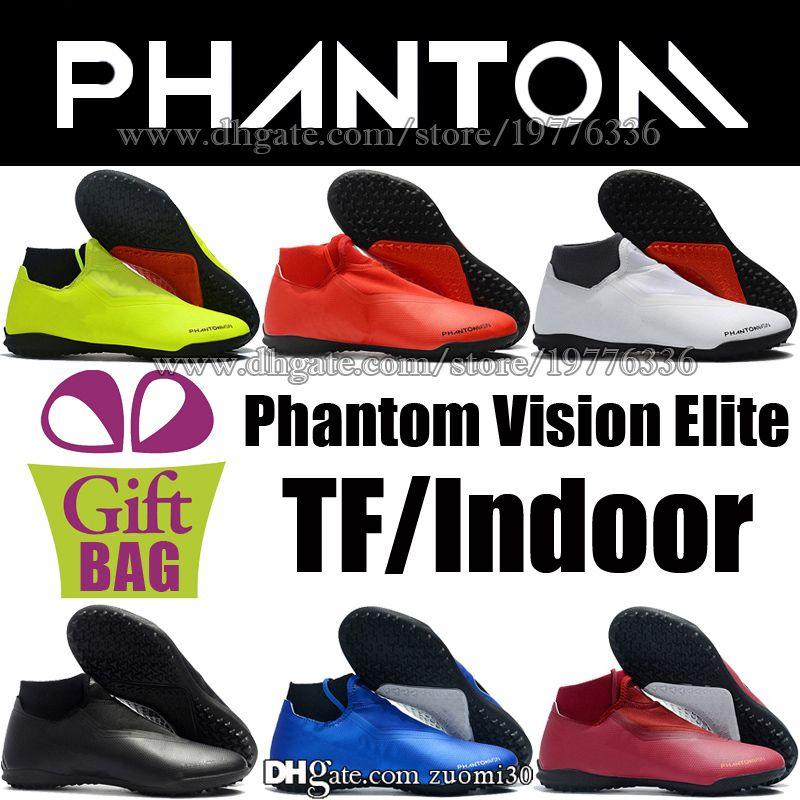 479784eee0 2019 Original New Men Indoor Soccer Shoes Futsal Football Boots Socks  Phantom VSN Vision Elite TF Turf Soccer Cleats Leather Football Shoes 39 46  From ...