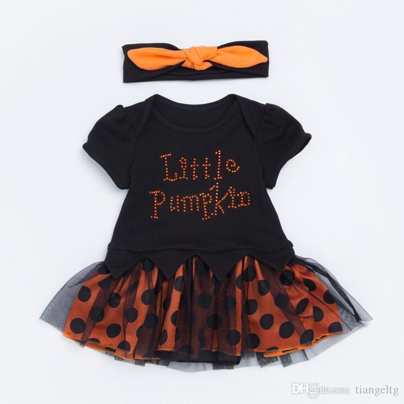 2018 baby halloween romper dress headband little pumpkin girls halloween tutu skirt pumpkin dress two piece clothing sets 0 24m from tiangeltg