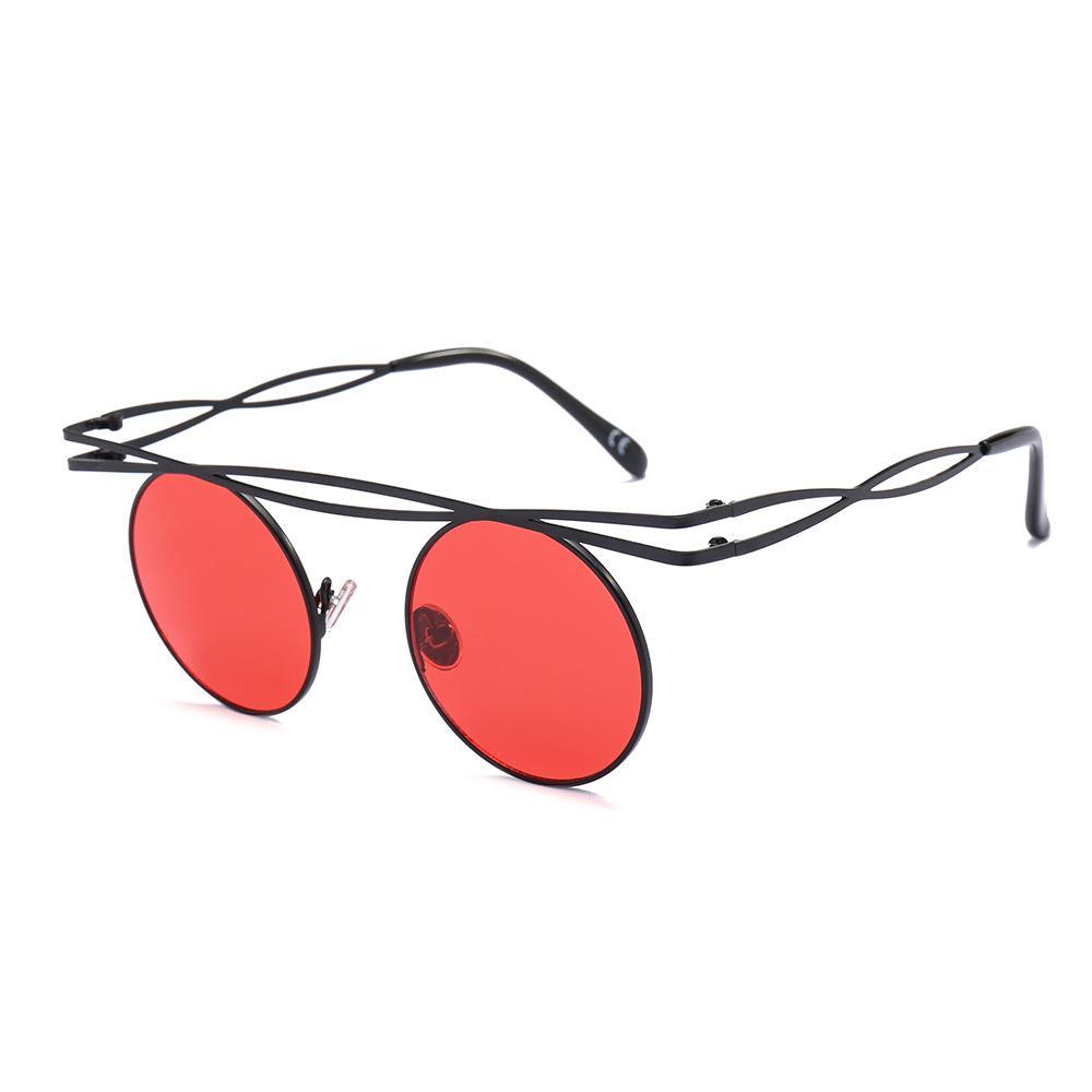 Compre MINCL   2018 Óculos De Sol Do Punk Retro Rodada Óculos Masculino  Feminino Ao Ar Livre Clássico Do Vintage Lente Vermelha Sunglasse UV400 Com  Caixa NX ... 814a2ebb23