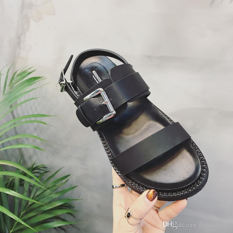 1943d85966df Summer Platform Shoes Fashion Buckle Strap Women Sandals Casual Platform  Sandals Black Pu Outdoor Womens Sandals Punk Shoes Sandals Online with   45.72 Piece ...